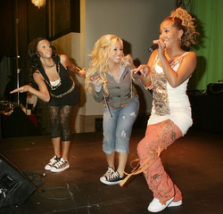 'The Cheetah Girls' performs at party following premiere of new Disney Pictures film 'Chicken Little' in Hollywood