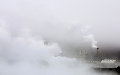 Steam rises from the Svartsengi geothermal power plant near the town of Grindavik