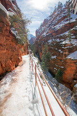 Angels Landing Hiking Trail during winter in Zion National Park in Utah USA