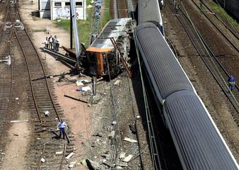 VIEW OF TRAIN CRASH AFTER TRACK SABOTAGE.
