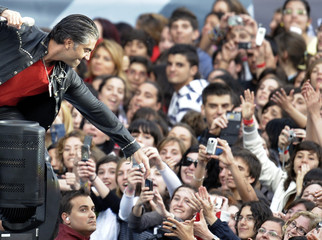 """Mexican singer Alejandro Fernandez performs during the """"Valladolid Latino"""" concert at Jose Zorrilla stadium in the Spanish town of Valladolid"""