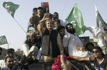 Opposition Pakistan Muslim League Nawaz party leader Hashmi leads rally after he was released from jail in Lahore