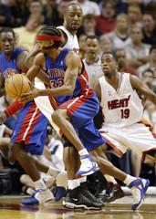 Detroit Piston Hamilton drives to the basket against the Miami Heat in Miami Florida.