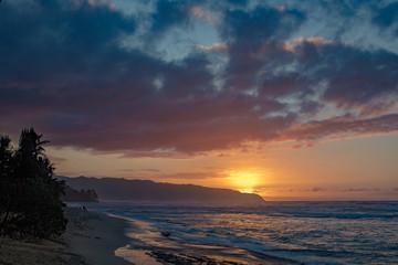Beautiful sunset time on hawaiian beach with ocean view seascape