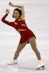 MICHELLE KWAN PERFORMS AT WOMEN'S SHORT PROGRAM AT WORLD FIGURE SKATING CHAMPIONSHIPS.