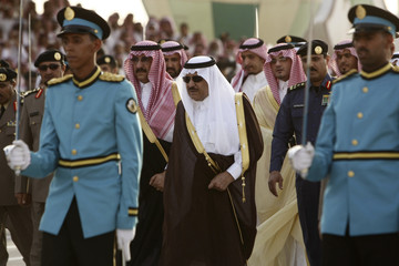 Saudi Interior Minister Prince Nayef bin Abdul-Aziz greeted upon his arrival at the graduation ceremony of police cadets at Public Security Training City in Riyadh