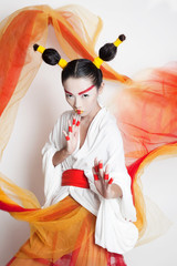 Asian woman in tradition costume