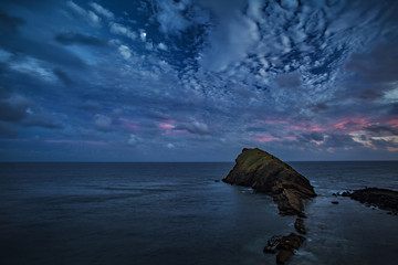 Beautiful Seascape, Ocean and Rocks at night, Blue tone nocturne Image