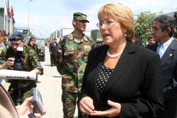 Chilean President Michelle Bachelet speaks to the media in Banja Luka