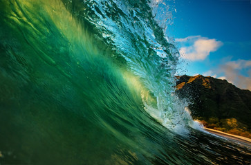 Surfing sea wave