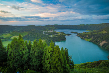 Green valley with a lake. Ciete Cidades scape