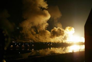 EXPLOSIONS IN BAGHDAD DURING AIR STRIKES.