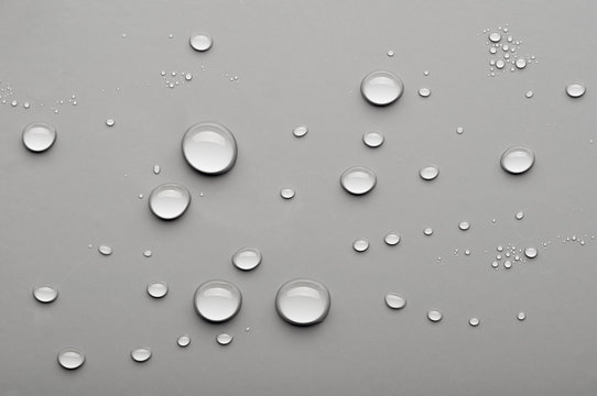 water drops on a gray background