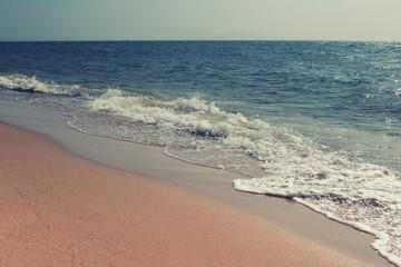 Beach or coast of vintage color style in tropics sea.