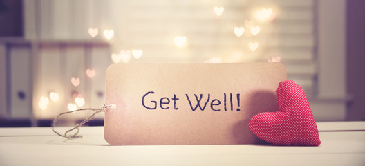 Get Well message with a red heart