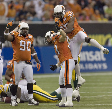 BC Lions celebrate during CFL play against Edmonton Eskimos in Vancouver