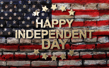 Fourth of July. Happy Independence Day of the USA on America flag background poster