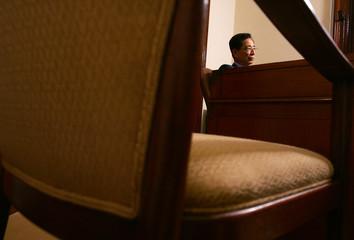 Hong Kong pro-democracy lawmaker Martin Lee pauses during interview in Hong Kong.