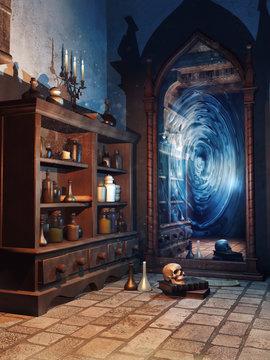 Pokój z magicznym lustrem i alchemicznymi miksturami