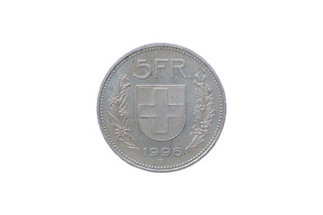 Swiss Confederation money coin 5 Francs isolated on white background, 1996 year.