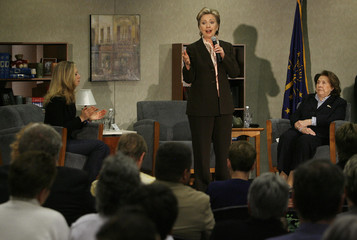 US Democratic presidential candidate Hillary Clinton campaigns in Brownsburg