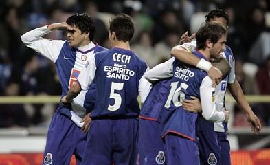 Porto's Lucho celebrates goal against Beiramar with team mates during their Portuguese Premier League match in Aveiro