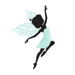 Silhouette of beautiful fairy. She is flying. She is in a blue gentle, air dress.
