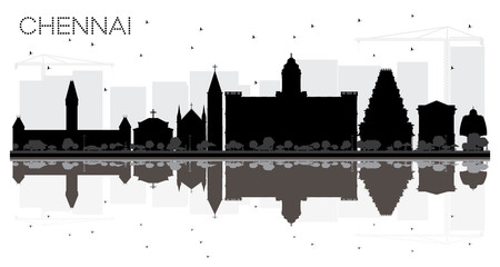 Chennai City skyline black and white silhouette with reflections.