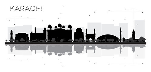 Karachi City skyline black and white silhouette with reflections.