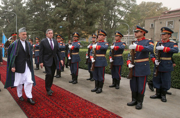 Afghanistan's President Karzai walks with British Prime Minister Brown at the presidential palace in Kabul