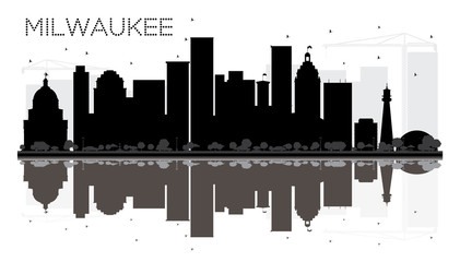 Milwaukee City skyline black and white silhouette with reflections.