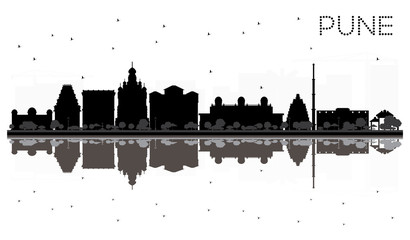 Pune skyline black and white silhouette with reflections.