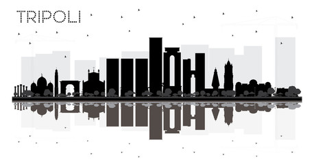 Tripoli City skyline black and white silhouette with reflections.