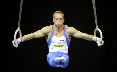Yuri Van Gelder of the Netherlands competes on the rings during the International Gymnastics Grand Prix in Glasgow, Scotland