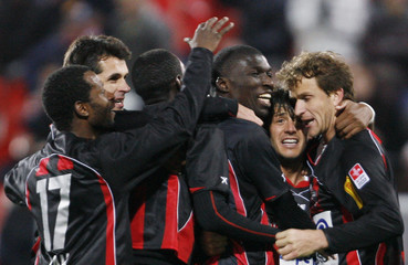 FC Xamax's players celebrate after the second goal against FCB during their Swiss Super League soccer match in Neuchatel