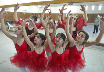 File photo of young Iraqi ballerinas practising at Baghdad's Music and Ballet school