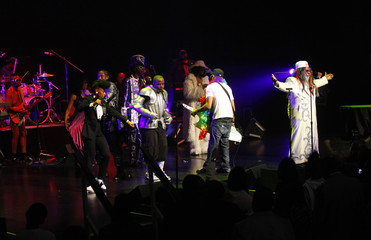 An ensemble of singers perform during a tribute to George Clinton at BMI Urban Music Awards show in New York