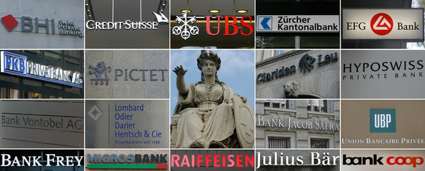 A combination of pictures shows a statue of Switzerland's national symbol 'Helvetia' on the roof of the central railway station and the logos of several Swiss banks in Zurich