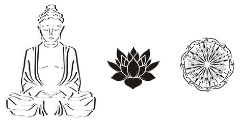 India, city, illustration, cartoon, black, white, silhouette,  culture, black and white, many, three, different, buddha, lotus, mandala