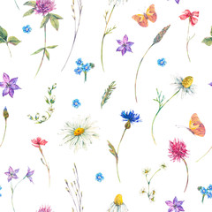 Watercolor seamless pattern with wildflowers