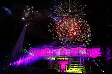 Fireworks light up the main building and forecourt fountains of the Petrodvorets