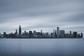 Chicago skyline on bluetone