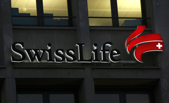 The logo of insurance company Swisslife is pictured on the building in Lausanne
