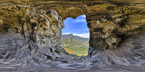 Full 360 virtual reality of wallys cave on Lions Head and Table Mountain peaks in Cape Town, South Africa Wall mural