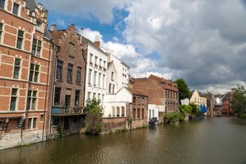 Buildings near Leie River in Gent