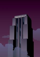 Art Deco Tower / Cartoon skyscraper at night in Art Deco style.