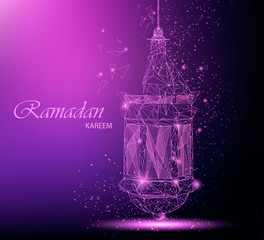 Ramadan Kareem beautiful greeting card with traditional Arabic lantern. Polygonal art on purple background. Usable for Eid Mubarak. Stock vector