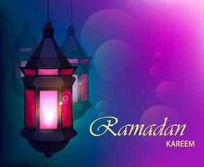 Ramadan Kareem beautiful greeting card with traditional Arabic lantern on blurred purple background. Usable for Eid Mubarak. Stock vector