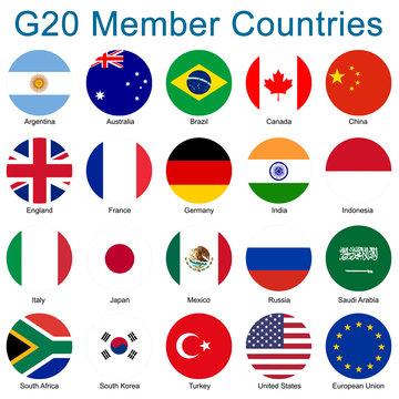 G20 Mitglieder - Runde Flaggen