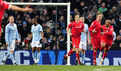 Nottingham Forest's Earnshaw celebrates scoring against Manchester City during their FA Cup soccer match in Manchester
